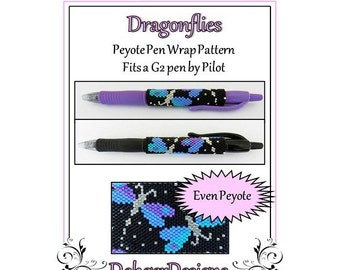 Bead Pattern Peyote(Pen Wrap/Cover)-Dragonflies
