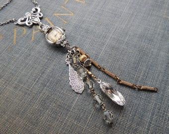 Assemblage Tassel Necklace / Vintage Watch Tassel Necklace / Boho Necklace / Repurposed Necklace / Upcycled Necklace / Altered Art