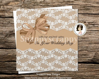 Vintage White Lace Wedding  Card - On  Your Wedding Day