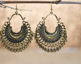 Oxidized gold metal crescent moon chandelier earring