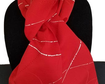 Kimono Scarf S8307 - red and white abstract