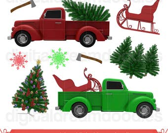 Christmas Tree Truck Clipart, Holiday Christmas Truck Clip Art, Xmas Tree Farm Graphic, Snowflake PNG Scrapbook, Axe Image, Digital Download