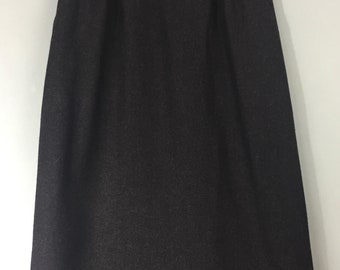 VINTAGE PLANET tweed fitted skirt 6/8 Charcoal grey Velvet waistband Wool blend