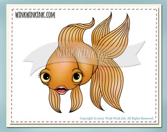 Digital Stamp - Fiona - cute goldfish printable digi image