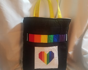 Quilted PRIDE Rainbow Heart Library Tote Bag