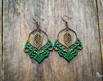 Big gypsy elven leaf micro macrame earrings bohemian boho chic jewelry by Creations Mariposa