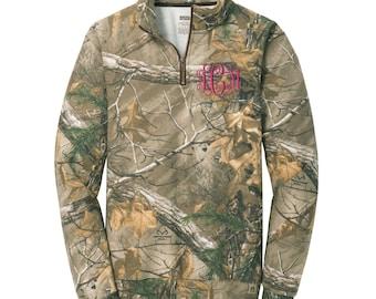 Monogrammed Camo Quarter Zip Pullover.  Camo Quarter Zip Sweatshirt. Camouflage Camo Quarter Zip. SM - R078Q