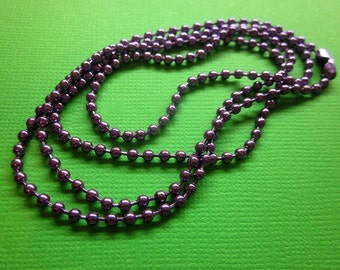Purple 2mm Metal Ball Chain Necklace