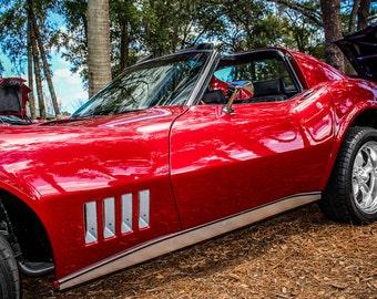 1969 Chevrolet Corvette Stingray Car Photography, Automotive, Auto Dealer, Muscle, Sports Car, Mechanic, Boys Room, Garage, Dealership Art