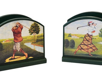 Hand Painted Vintage Lady and Gent Napkin/ Mail Holder Gift Set