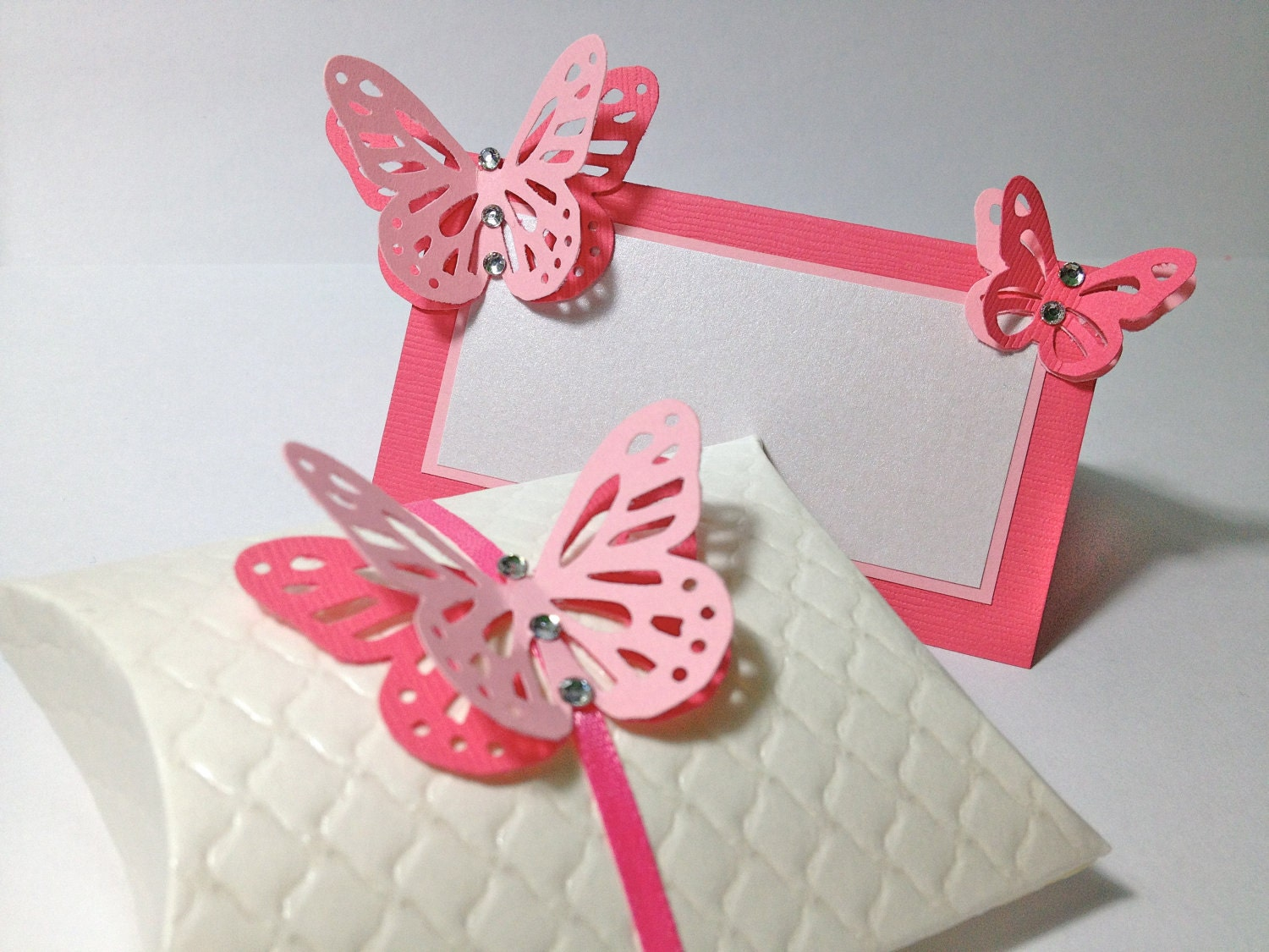 Set of favor box and name card Pillow gift box Favor Box