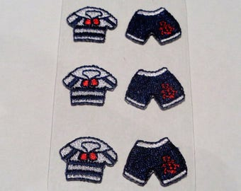 6 woven Stickers stickers marine: 3 marinières and 3 Navy blue shorts red ink for Scrapbook - ref 8A