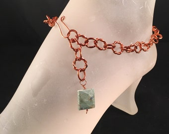 Natural Copper Ankle Bracelet with Ruby Fuchsite Gemstone Bead Charm, 11 Inches Long with Your Choice of Clasp
