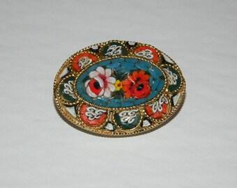 Vintage 1950s Italian Micro Mosaic Floral Brooch