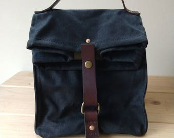 Large Black Waxed Canvas, Cordura, and Leather Reusable Insulated Lunch Bag