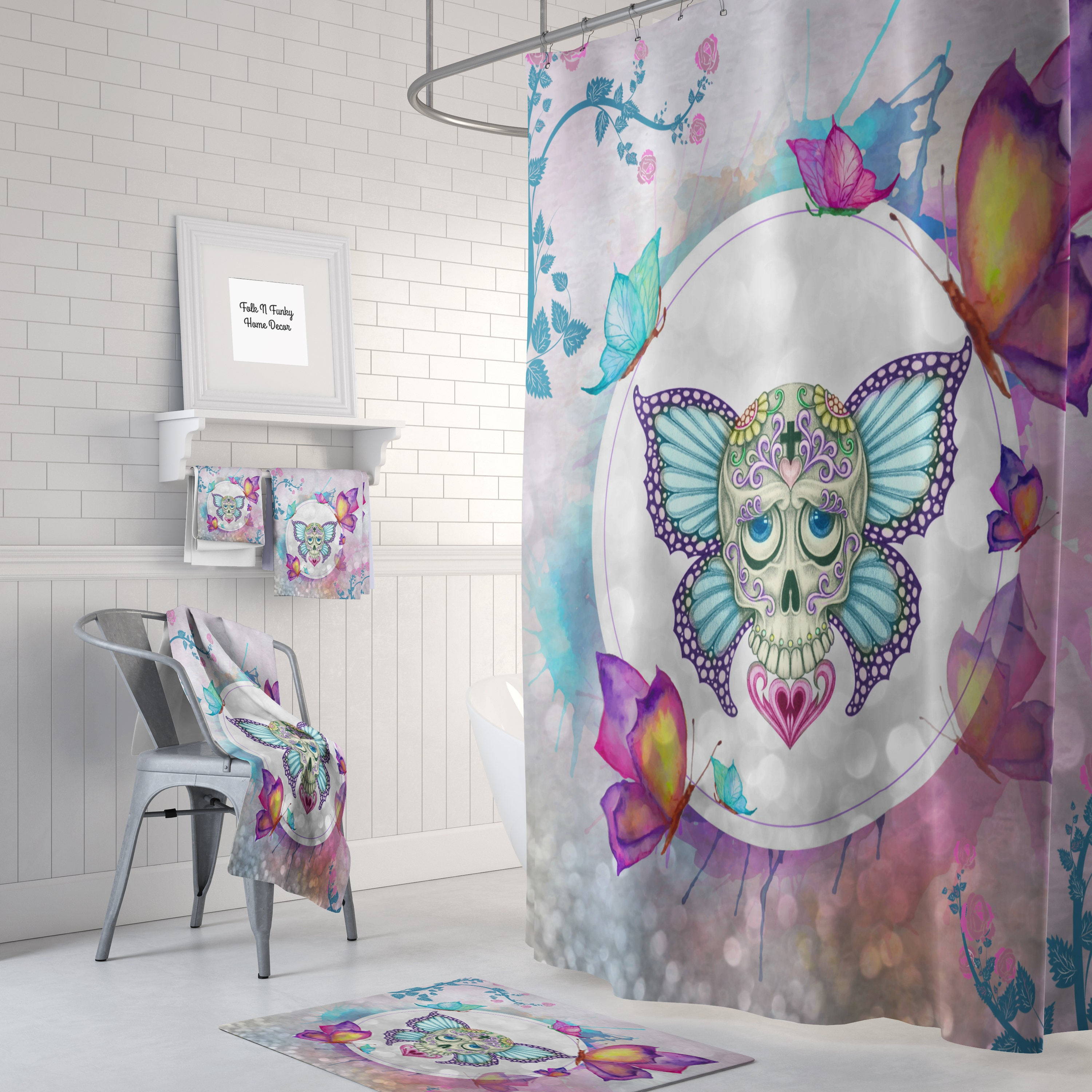 Sugar Skull Shower Curtain  Day Of The Dead  Butterfly Watercolor, Skull Bathroom  Set