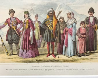 1882 Human Races - Georgian, Circassian and Armenian Original Antique Lithograph, 11 x 14 inches - Home Decor - Anthropology - Races
