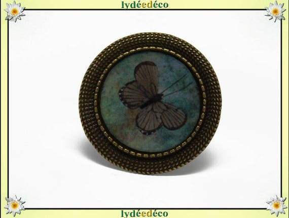 Round ring vintage retro Brown Green Butterfly charm 20mm brass retro adjustable resin