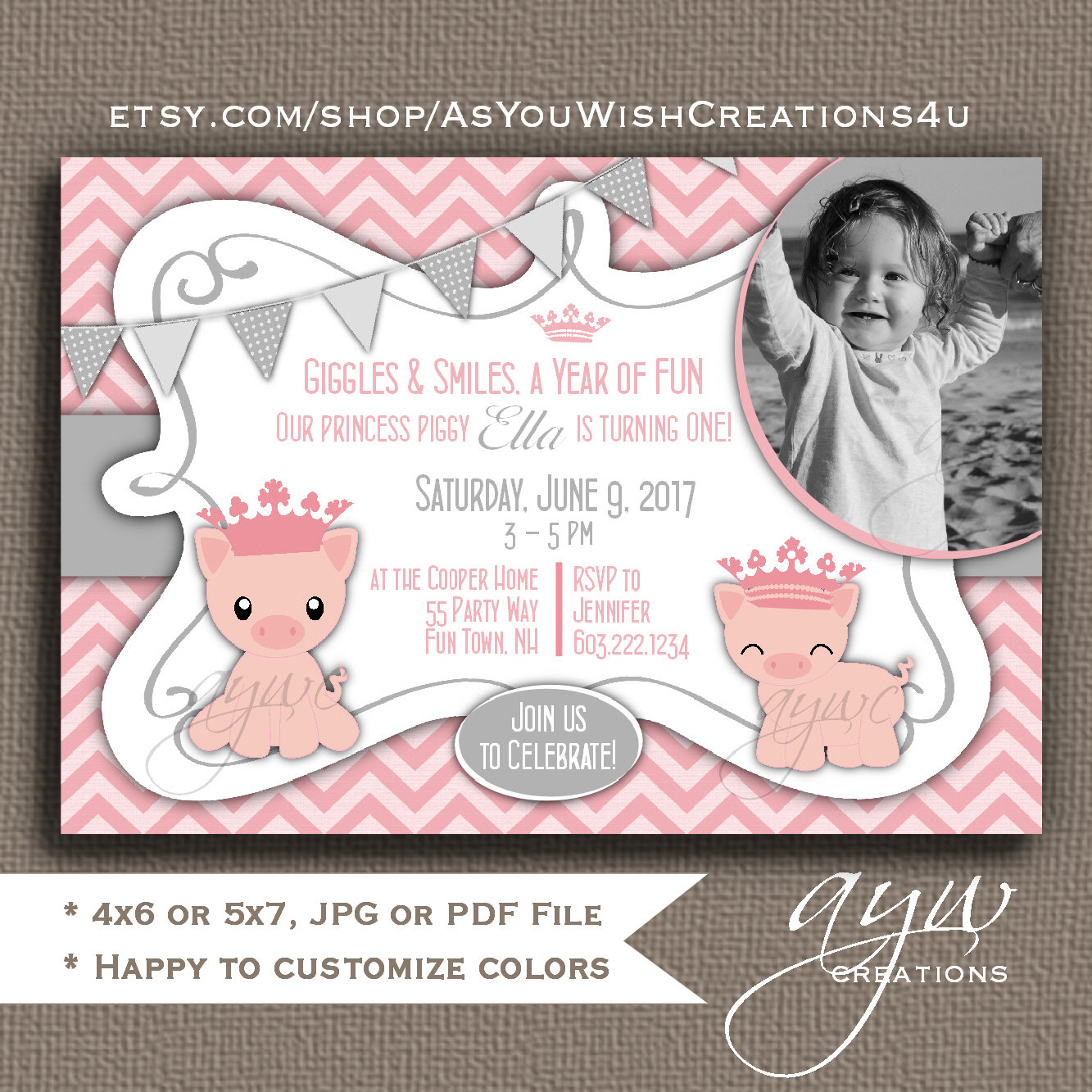 Pig Birthday Party Invitations Girl First Birthday Pig Party