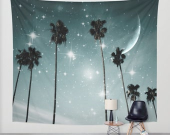 Palm Trees Starry Night Wall Tapestry, Tropical, Office, Large Size Wall Art, Modern Decor, Nature, Moon, Stars,Garden,Beach Hut Decor, Dorm