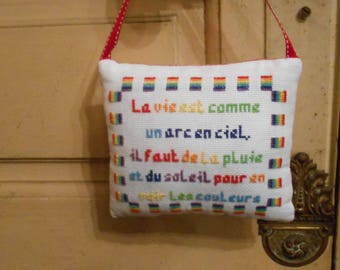 hand embroidered door pillow - life is like a rainbow
