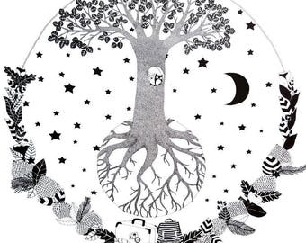 The Night Tree,  illustration in black and white, poster for children's room