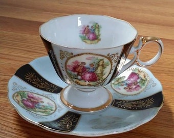 Vintage French Blue Painted Ladies Teacup Royal Sealy