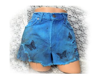 butterfly shorts - Blue dyed shorts - OOAK painted shorts -Blue upcycled shorts - Blue denim shorts - grunge shorts - size 11-  # 19