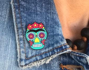 Frida Kahlo Sugar Skull - Day of the Dead - Hard enamel pin - Enamel Pin
