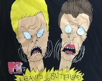 Vintage 1993 MTV Beavis and Butt-Head Screamers T-Shirt - beavis and butthead tee black