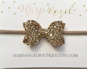 Gold Glitter Bow Headband or Hair Clip ~ 3 Sizes ~ Newborn / Baby / Toddler Girls / Adult