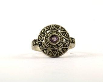 Vintage Round Design Marcasite Band Ring 925 Sterling RG 3373