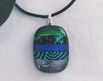 Dichroic glass pendant - Fused glass, Etched patterns, different shades of green & blue
