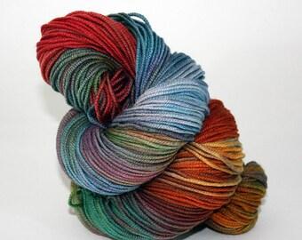 Hand-Painted Worsted Superwash Merino Wool Yarn - Wooly Rainbow