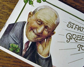 Irish Postcard St Patricks Day Vintage Saint Pat Radio Greetings 1910