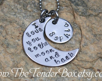 personalized necklace I love you to the moon and back hand stamped pendant necklace