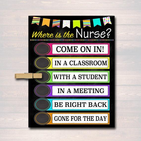 where is the school nurse door sign classroom decor school