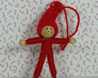 Vintage yarn elf Christmas ornament red 1970s