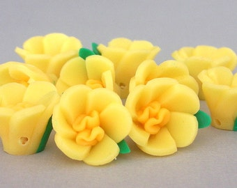 Yellow flower beads, polymer clay beads, daffodil beads, 15x12mm, qty 8
