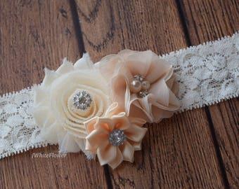 Cream ivory headband,Shabby Flowers Baby Headband, Newborn Headband, Infant Headband,Baby Headband, Headband Baby
