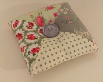 Vintage Green Floral Patchwork Pin Cushion