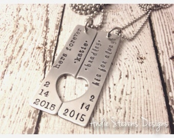 Couples necklace set name date his forever hers for always heart gift for couple long distance love anniversary valentines day hand stamped