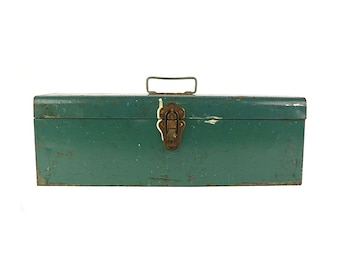 Industrial Storage, Union Utility Chest, Green Toolbox, Metal Tackle Box, Industrial Tool Box, Rustic Decor, Cash Box, Tool Chest,