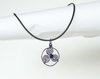 "Purple Necklace Pendant Triskele Purple Wire Celtic Triskelion Celtic Spirals 18"" Leather Cord Necklace"