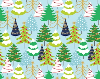 Grand Firs Blue Fabric Yard, Snowflake Waltz Collection, Christmas 2017, by Maude Asbury For Blend Fabrics, 101.131.02.1