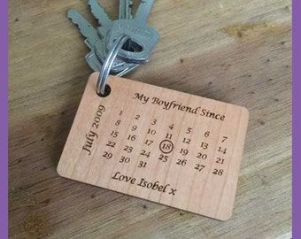 Bespoke Dates Keyring, Births, Marriage, Engagement, Valentines etc