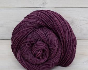 Supernova - Hand Dyed Superwash Merino Wool Worsted Yarn - Colorway: Eggplant
