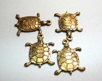Raw Brass Turtle Dangle Turtle Charm