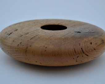 Reclaimed white oak shallow vessel