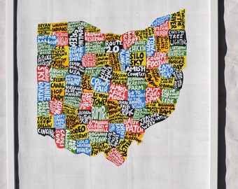 Ohio Map Wall Art | OH poster | acrylic painting | home decor, map of Ohio